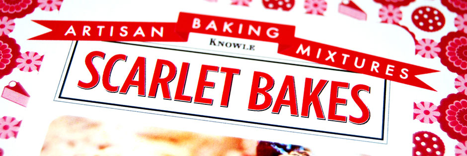 A close-up shot of the front of Scarlet Bakes packaging