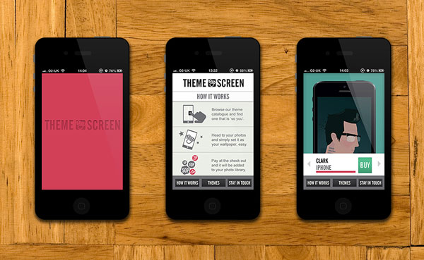 Theme My Screen work shown on three mobile view mockups