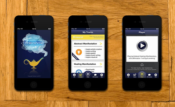 Unleashme work shown on three mobile view mockups
